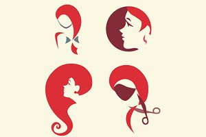 Icon set for hairdressing salon