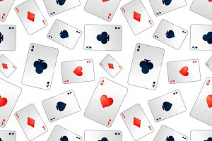 Poker aces on white