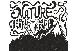 Nature is cheaper typography set
