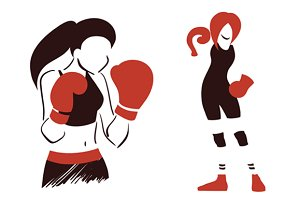Icon with boxing woman