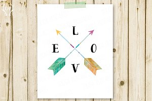 Arrows watercolor printable art love