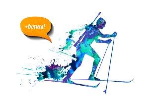 Biathlon skier + bonus. Vector
