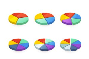 Set of colorful pie diagrams