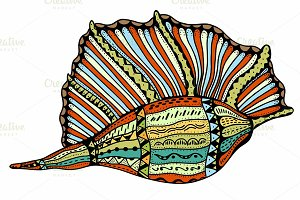 Seashell line art