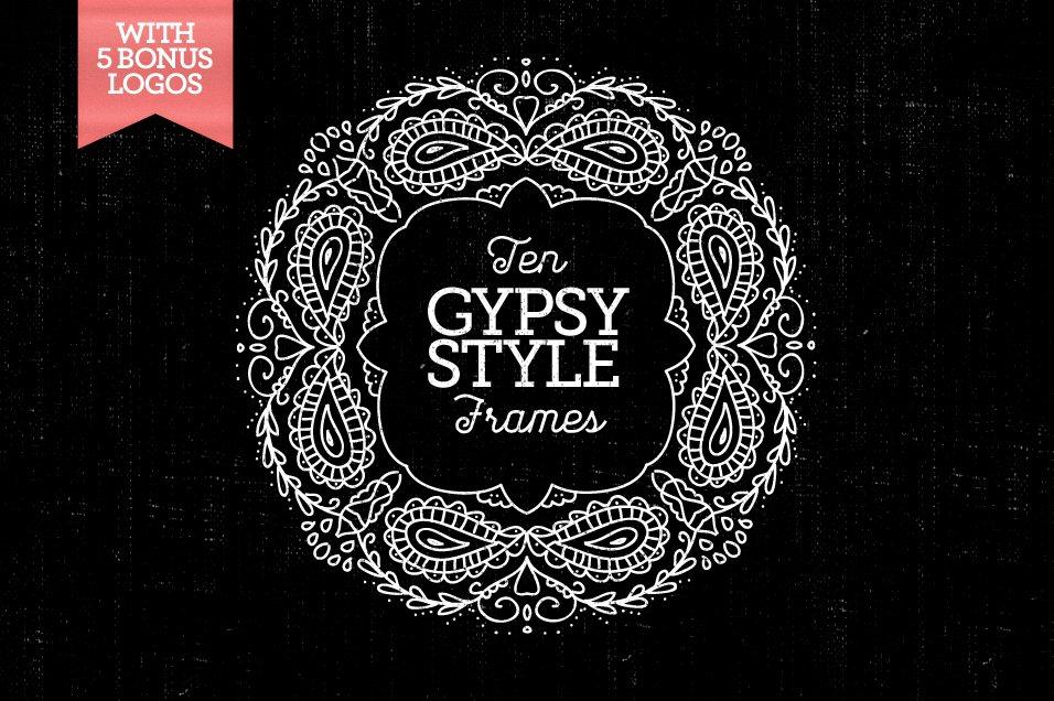 10 Gypsy-Style Frames & 5Bonus Logos ~ Graphics ~ Creative Market