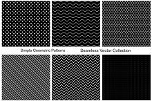 Collection of seamless patterns. B&W