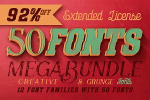 Creative & Grunge Fonts Megabundle