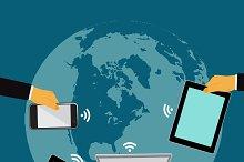 world communication, vector