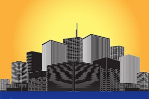 city, town, buildings, vector