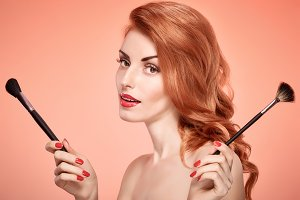 Beauty portrait woman, eyelashes, makeup brushes