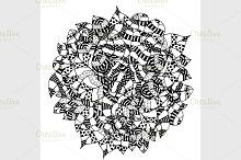 Black and white floral pattern.