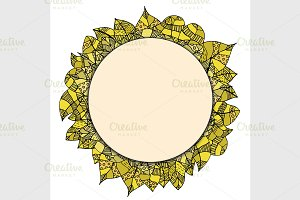 round papper frame on leaves