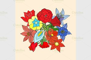 Floral background with leaves.