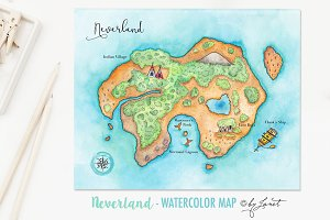 Neverland - Watercolor Map