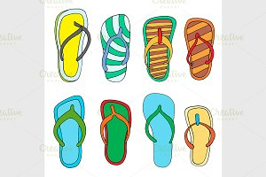 Colorful flip flops