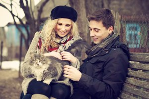 in love couple and a cat