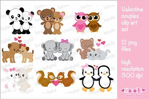 Valentine couples clip art set