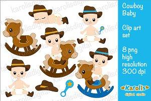 Cowboy baby clip art set