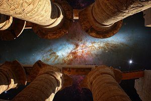 Karnak columns and Cigar Galaxy
