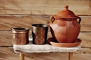 crock and copper cauldrons