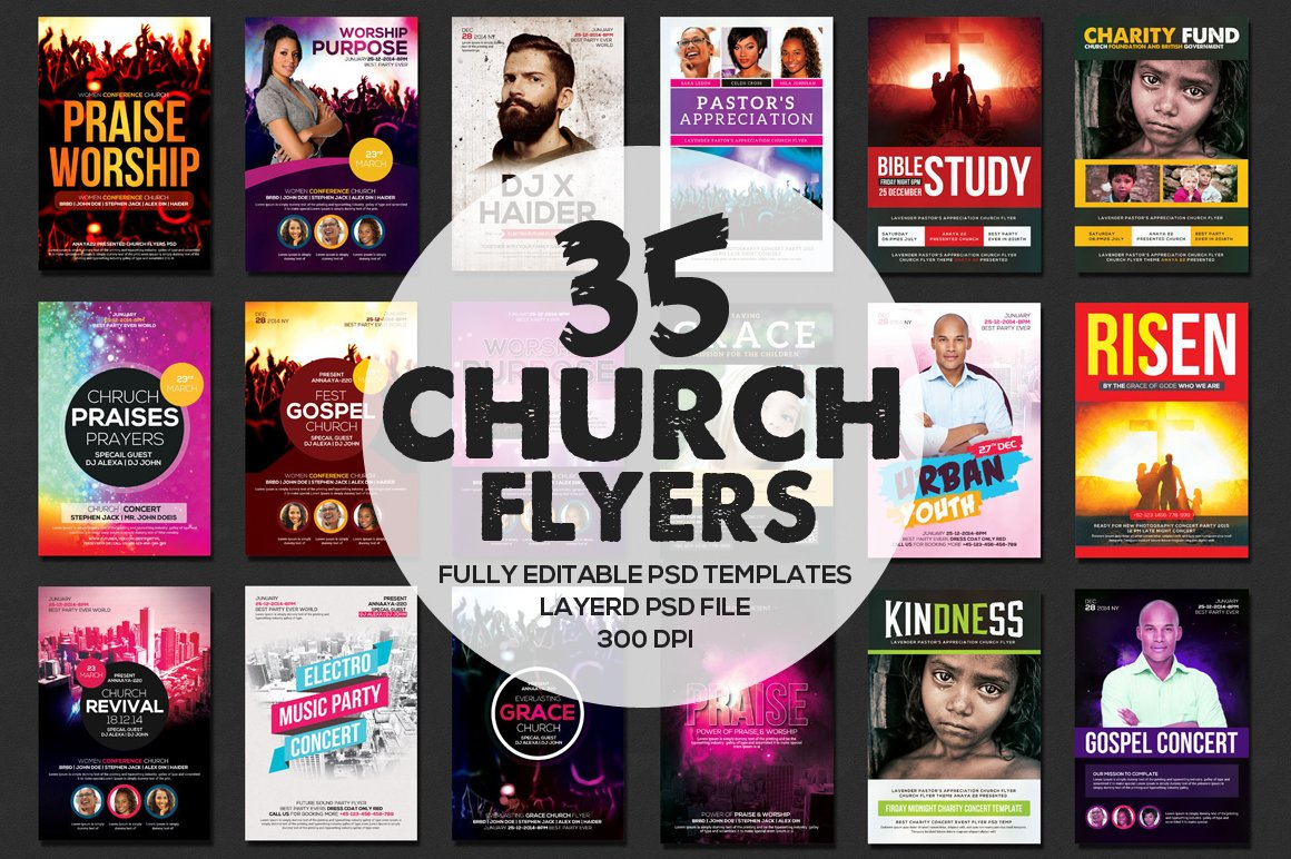 gospel concert flyer photos graphics fonts themes templates 37 church flyers bundle