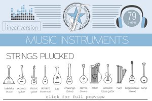 Music instruments linear set