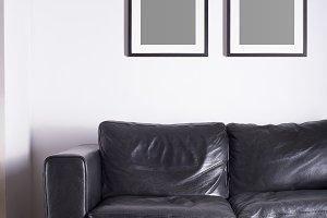 Black picture frame mockup on white