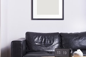 Black picture frame interior mockup