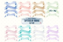 Watercolor Ribbon Clip Art EPS+PNG