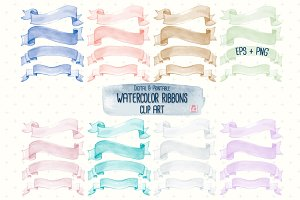 Watercolor Ribbon Clip Art EPS+PNG