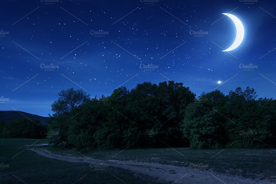 Beautiful Night Sky With The Moon And Stars Nature Photos Creative Market