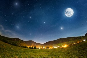 Full Moon. Summer night with stars. Crimea mountains