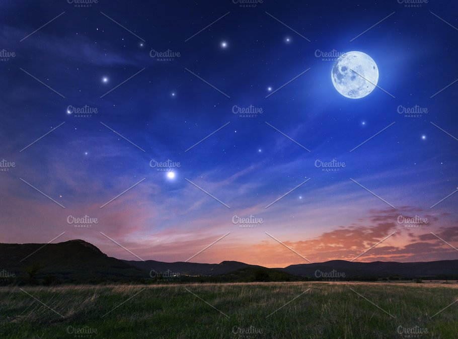 Beautiful Night Sky With The Full Moon And Stars Nature Photos Creative Market