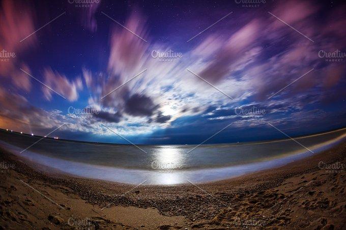 Beautiful summer night on the sea in Ukraine. Full moon - Nature