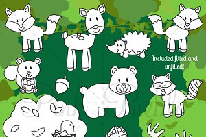 Forest Animals Digital Stamps