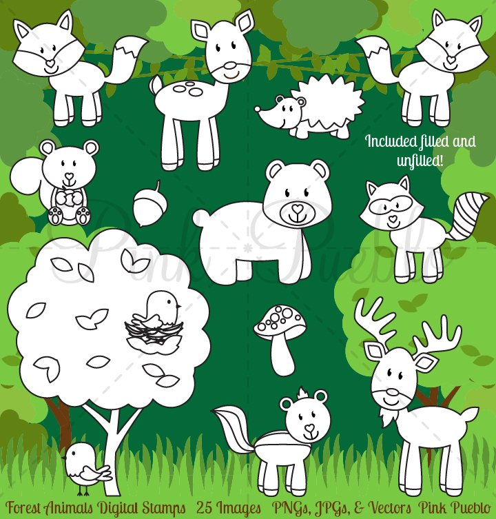 Forest Animals Digital Stamps Illustrations Creative Market