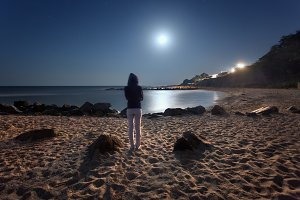 Beautiful summer night on the sea in Ukraine. Full moon