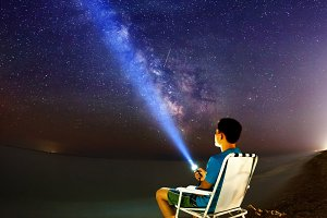 Milky Way. Beautiful summer night on the sea in Ukraine