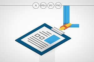ID badge isometric web element