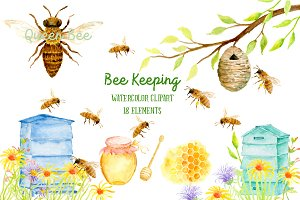 Watercolor Clipart Bee Keeping