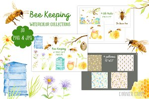 Watercolor Collection Bee Keeping