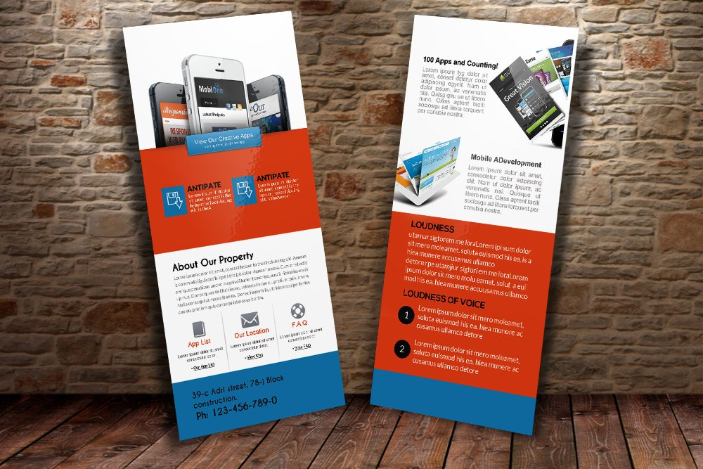 Mobile Apps Rack Card Template Card Templates Creative Market - Rack card template photoshop