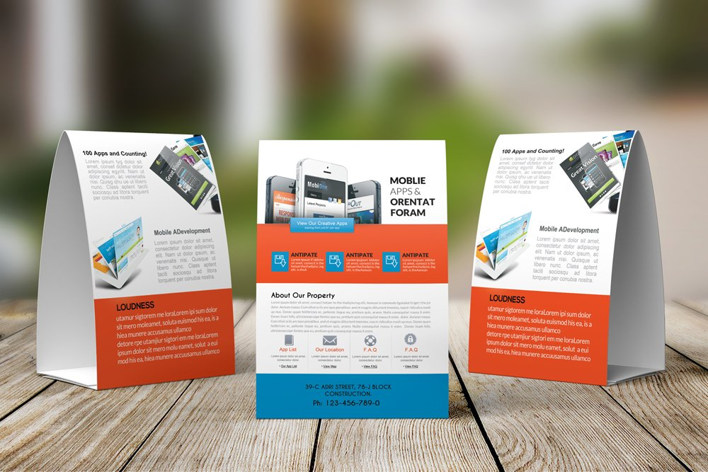 Mobile Apps Table Tent Template ~ Magazine Templates ~ Creative Market