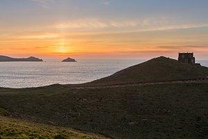 Sunset off north Cornwall coast