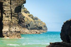 Coastline of Cornish coast England