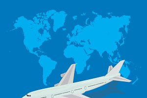 travel, airplane, world map