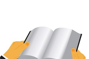 hands and book, vector