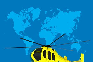 helicopter, world map, vector