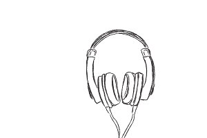 headphones, sketch, vector