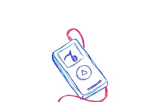 mp3, music player, vector, sketch
